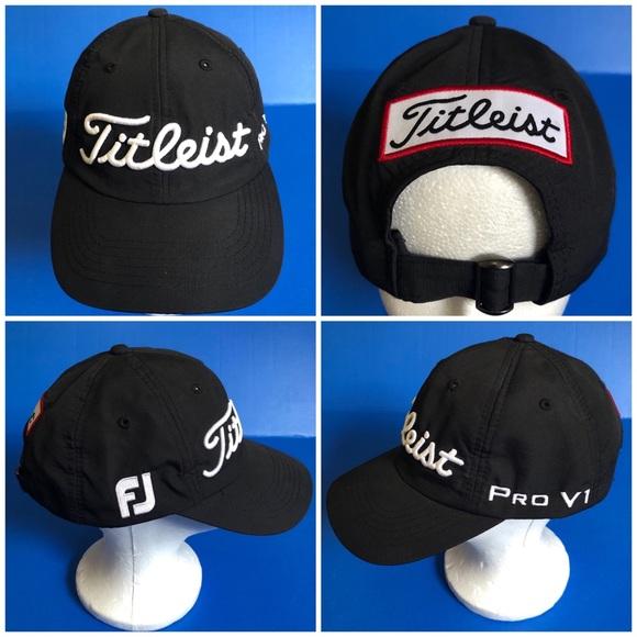Titleist Pro V1 FootJoy Golf Hat Black adjustable